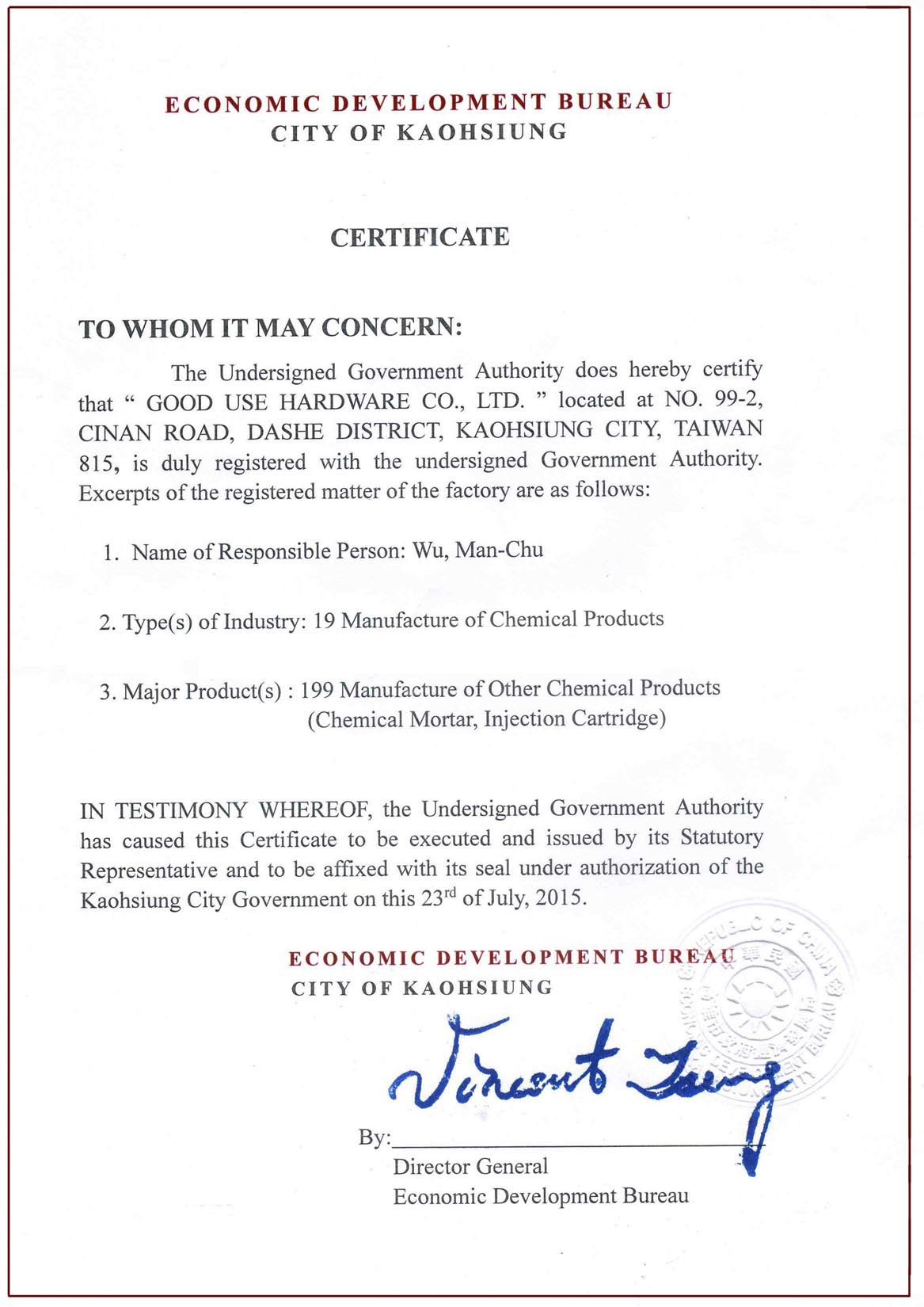 Factory registration certificate
